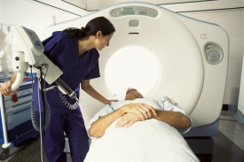 Patient being prepared for a CT scan