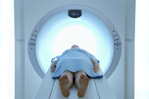 Patient being prepared for scan