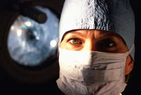 Portrait of a female surgeon wearing a surgical mask